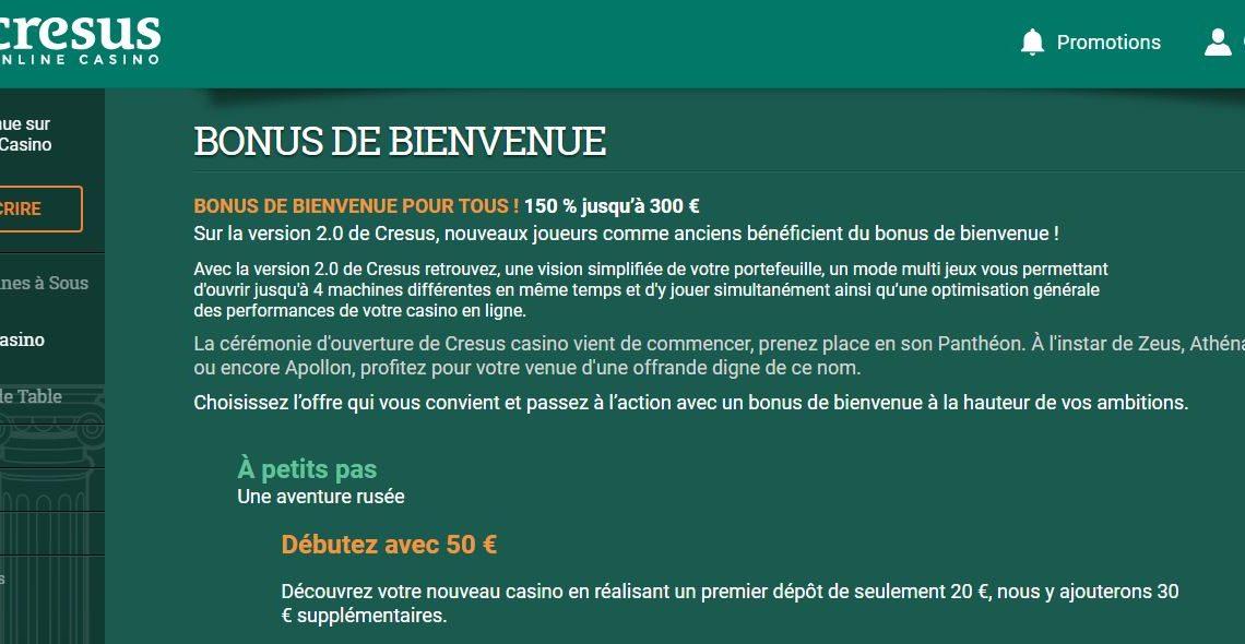 Bonus Casino Cresus : qu'offre ce casino en ligne à ses joueurs ?